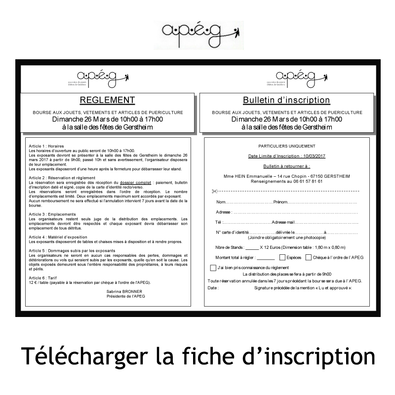 fiche inscription bourse